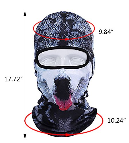 Betwoo Polyester Animal Balaclava Hood Full Face Mask Hats for Motorcycle/Cycling (Dog 1) by Betwoo (Image #2)