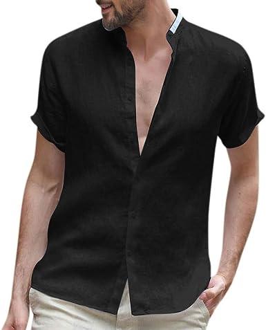 KUKICAT T - Camiseta de Manga Corta para Hombre de Lino Negro ...