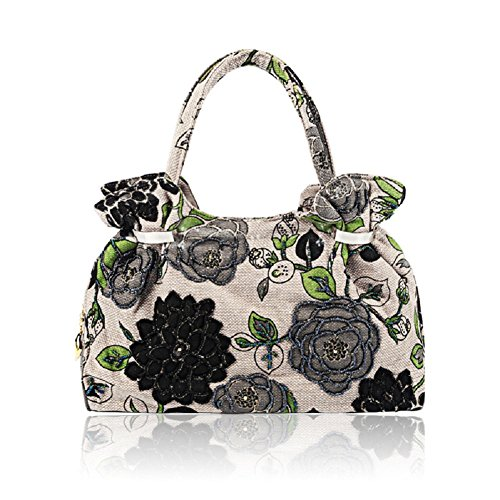 2018 Spring Handbag Flower Embroidery Bag Vintage Clutch Big Flower Tote Handbag Printing Bag Evening Clutch (Black) Black Glass Beaded Purse