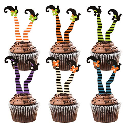 Halloween Witch Cupcakes (Donoter 36 Pcs Witch's Boot Cupcake Toppers Halloween Cupcake Picks for Halloween Party Decoration Supplies, 6)