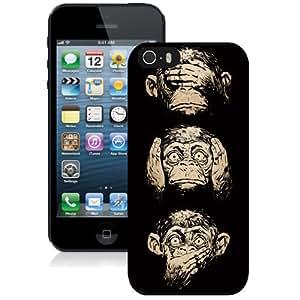 NEW Unique Custom Designed iPhone 5S Phone Case With Three Wise Monkeys Wisdom_Black Phone Case