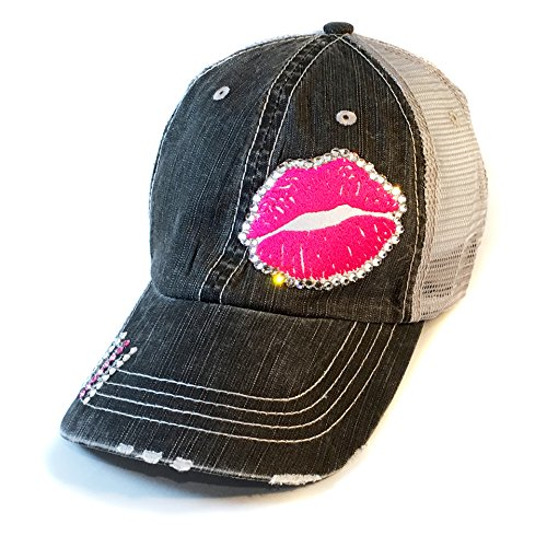 Cotton Swarovski Cap (Elivata Gloss Boss Baseball Hat - Pink Lips - Swarovski Crystal - Fitted Cap)