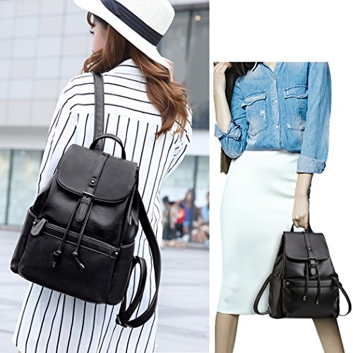 School Leather Coofit Backpack Backpack Casual Shoulder Women Daypack Backpacks Schoolbag Black Girls Casual B8qSOwxx5