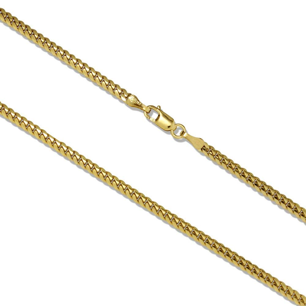 Joule Shop 14K Solid Yellow Gold 3mm Miami Cuban Link Chain Necklace, 20-30'' (30 in, 30 IN)