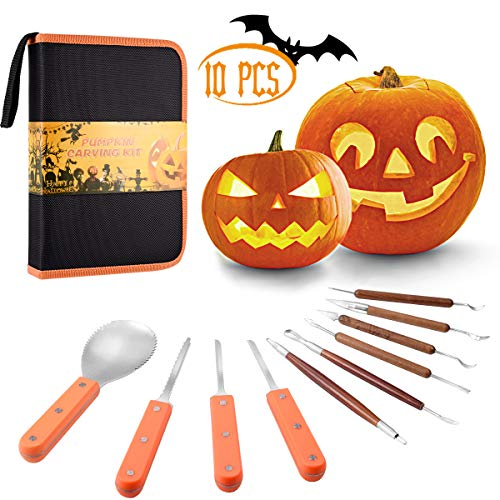 Pumpkin Carving Kit, 10 Pcs Durable Stainless Steel Pumpkin Carving Stencils for Halloween Decorations, Advanced Wood Carving Tools Kit for Easily Sculpting and ()