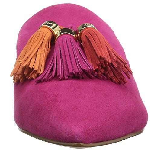 Mavirs Mule Slides, Womens Backless Slip On Loafers Tassels Pointed Toe Slipper Shoes Hot Pink