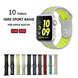 Kobwa Soft Silicone Nike and Sport Style Replacement Band For Apple Watch Series 1 and 2, (42mm grey+yellow)
