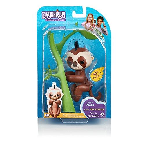WowWee Fingerlings Baby Sloth - Kingsley (Brown) - Interactive Baby Pet - by