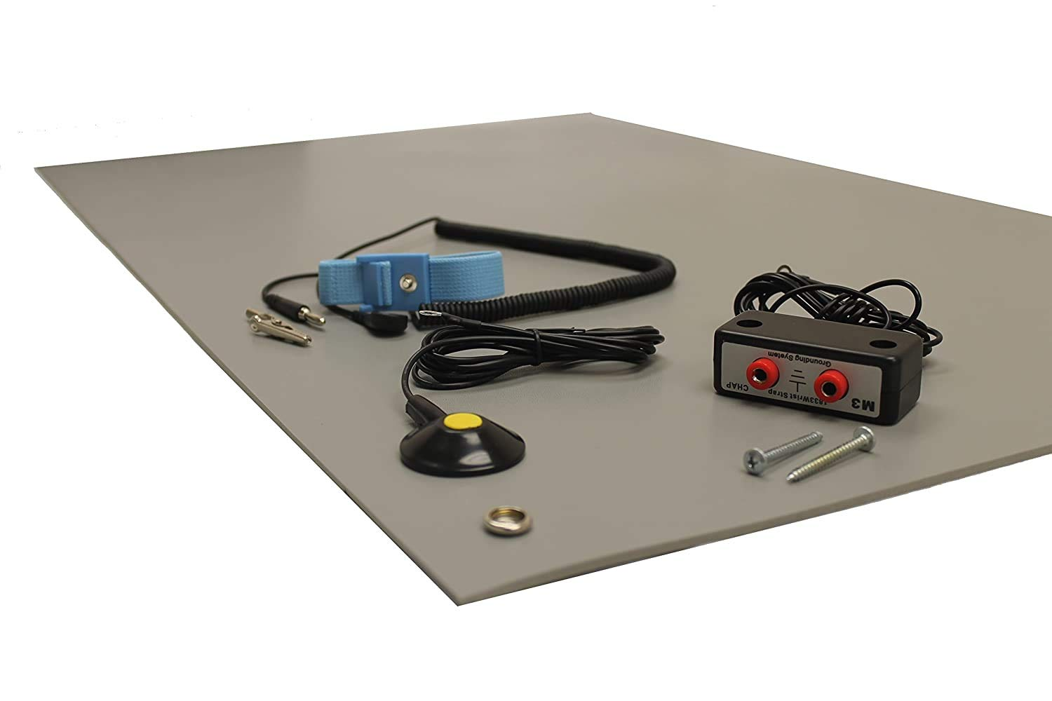 36 X 36 Gray 3 Wide x 3 Long x 0.125 Thick ESD Mat Kit with a Wrist Strap and Grounding Cord Three Layer Vinyl Dual Bench Grounding
