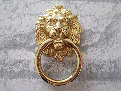 (Set of 1) - Drawer Knobs Dresser Pull Ring Knocker Kitchen Cabinet Knob Gold Lion Head Rings