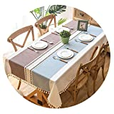 Plaid Decorative Linen Tablecloth with Tassel Waterproof Oilproof Thick Rectangular Wedding Dining Table Cover,Coffee,140x100cm