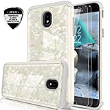 Galaxy J7 Refine/J7 2018/J7 Star/J7 Top/J7 Aura/J7 Aero/Crown/Eon Case w/Tempered Glass Screen Protector for Girls Women,LeYi Seashell Pattern Phone Case for Samsung J7 V 2nd Gen BKW White