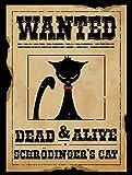 Quantum Cat Wanted Metal Sign, Schrödinger's Cat, Physics, Paradox