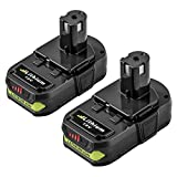 P107 2.5Ah Replace for Ryobi 18V Lithium Ion Battery ONE+ P102 P103 P104 P105 P108 P109 Cordless Power Tools 2 Packs