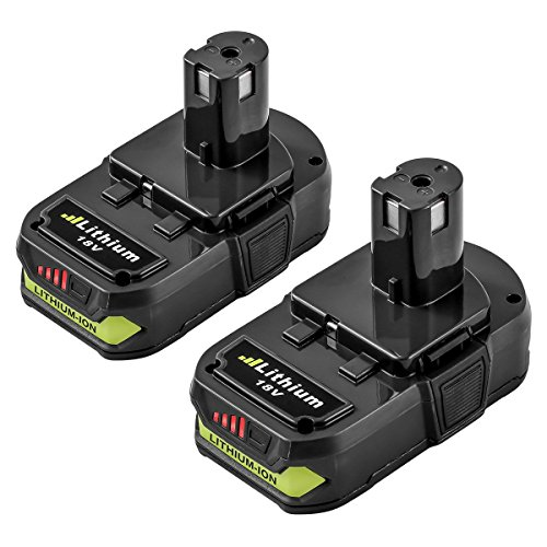 P107 2.5Ah Replace for Ryobi 18V Lithium Ion Battery ONE+ P102 P103 P104 P105 P108 P109 Cordless Power Tools 2 Packs by ENERMALL