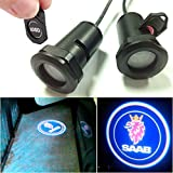 CHAMPLED For SAAB Car LED Laser Projector Illuminated Emblem Under Door Step courtesy Light Lighting symbol sign badge Glow Replacement Logo Film Auto Acessories