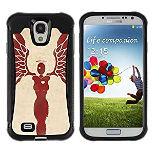 Suave TPU GEL Carcasa Funda Silicona Blando Estuche Caso de protección (para) Samsung Galaxy S4 IV I9500 / CECELL Phone case / / Heart Woman Angel Blood Red Wings /