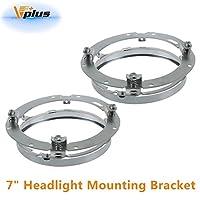 Vplus 7 inch Round Daymaker LED Headlight Mounting Bracket Ring Chrome For 2007-2016 Jeep Wrangler TJ JK Limited 2/4dr(2pcs)