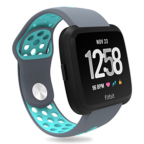 For Fitbit Versa Bands, Penta Stars Silicone Waterproof Band for Women and Men Fits Small & Large Wrists with Two Tone Slim Breathable Sport Design, Gray/Teal, L ()