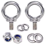 Swpeet 8Pcs 304 Stainless Steel M12 Male Thread Lifting Ring Eye Bolt Kit, Including 2Pcs M5 Eye Bolt with 2Pcs Lock Nuts, 2Pcs Lock Washers and 2Pcs Flat Washers