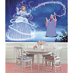 RoomMates JL1375M Disney Princess Cinderella Magic XL Chair Rail Prepasted Mural 6' x 10.5' - Ultra-strippable