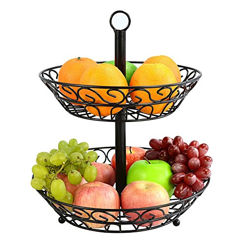wonderfulwu Fruit Basket, European Style living room Fruit Rack Double-deck Steel Wire Fruit Stand Kitchen Organizer for Storage ()