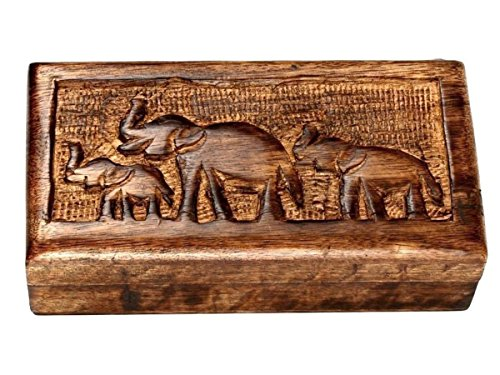 Handcrafted Country Style Wooden Keepsake Box Jewelry Trinket Multipurpose Storage Organizer with Hand Carved Elephant Design by storeindya (Image #1)