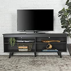 Living Room Walker Edison Rohde Contemporary 4 Cubby TV Stand for TVs up to 65 Inches, 58 Inch, Black modern tv stands