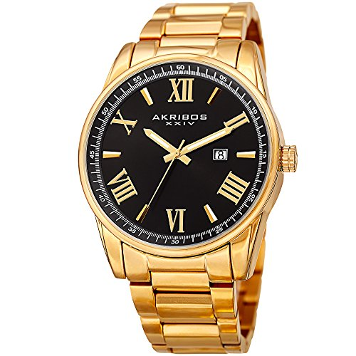 Akribos XXIV Men's Quartz Gold-Tone Case with Gold-Tone Accented Black Dial on Gold-Tone Stainless Steel Bracelet Watch - Blue Womans Dress Royal Roman