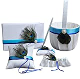 Dollbling Elegant 5 Pcs Peacock Feather Decor Wedding Flower Basket Set: Basket, Pillow,Book,Pen Holder &Garter