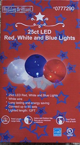 Brilliant White (25 ct LED red, white, and blue indoor outdoor lights 13')