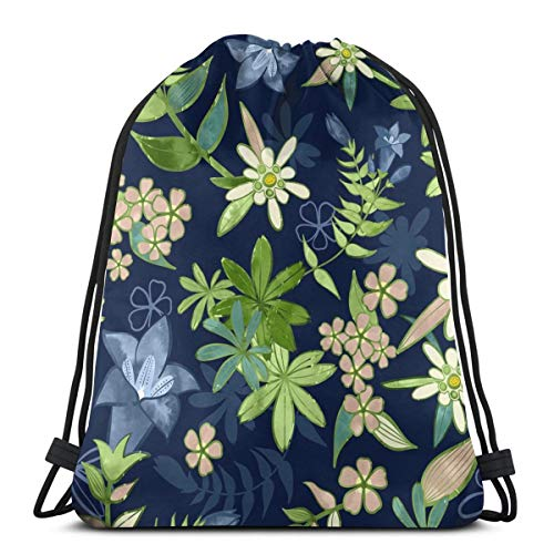 Alpine Flowers Blue - Gentian, Edelweiss Scale_7359 3D Print Drawstring Backpack Rucksack Shoulder Bags Gym Bag for Adult 16.9