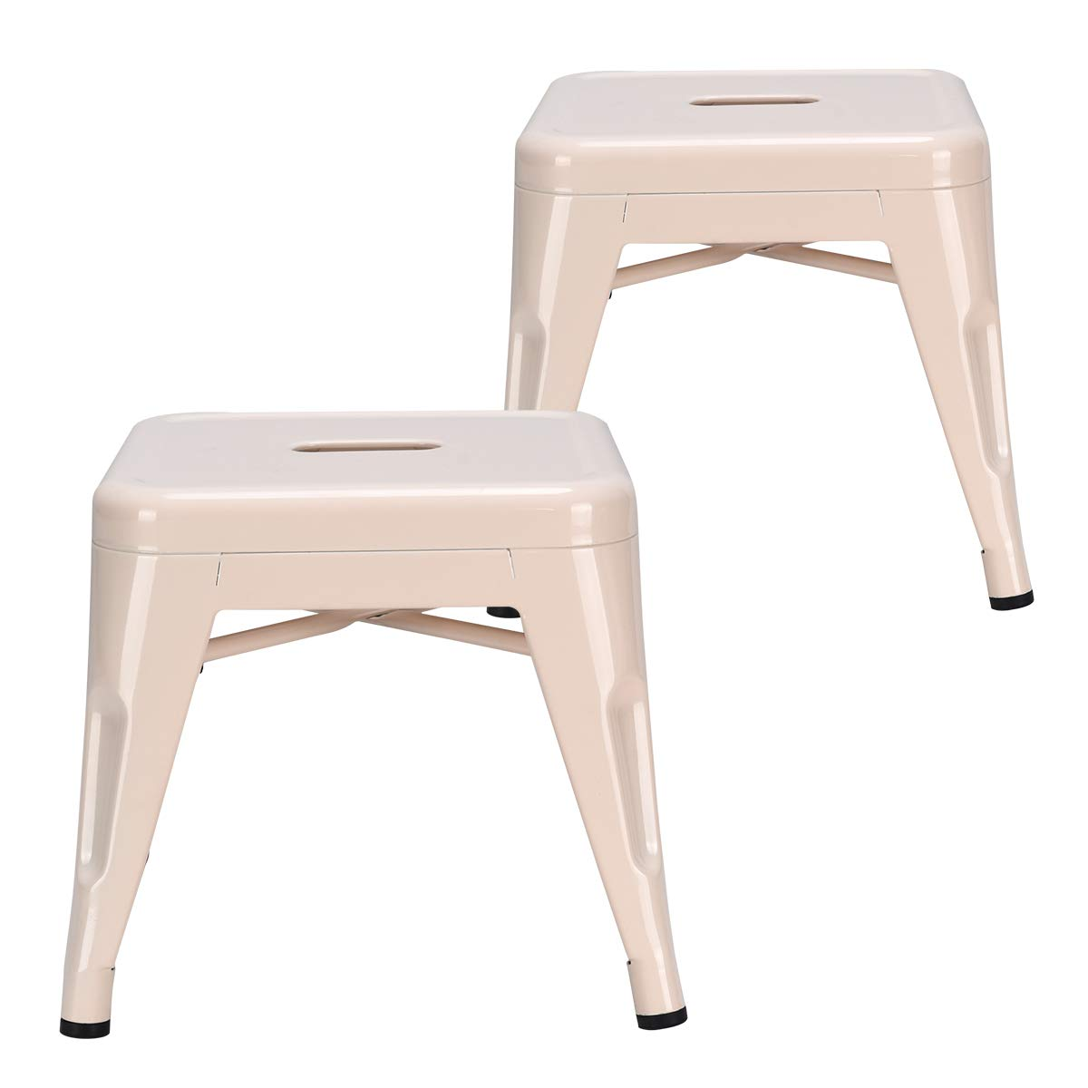COSTWAY Kids Metal Stools Steel Barstools Vintage Antique Style Counter Bar Stool (Milky White, Set of 2) by COSTWAY
