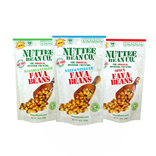 Roasted Fava Beans Variety 12 Pack with 3 Flavors no Gluten Healthy Snacks Allergy-Free Food Vegan Low Calorie Snack Natural Ingredients 12 x 2 Ounce by Nuttee Bean Join the Snack Revolution