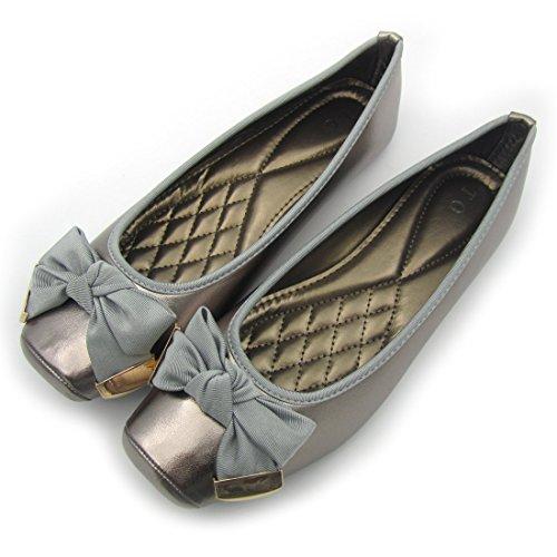 Qooth Primavera Moda Donna Casual Scarpe Tacco Piatto Slip-on Ballet Plus Size 42 Argento