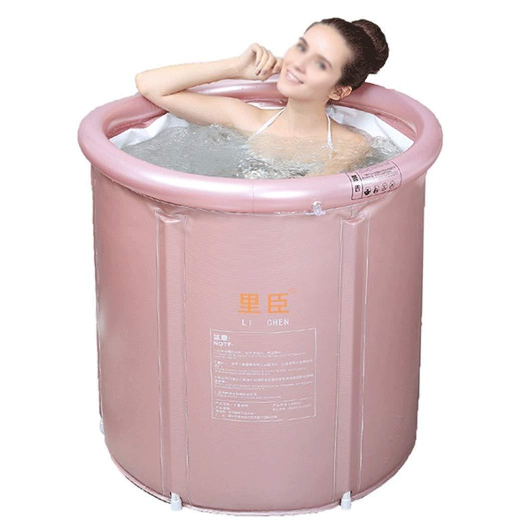 GJFeng Pink Adult Bathtub Folding Bathtub Inflatable Bathtub Thicken Large Bathtub 75cm75cm, 80cm80cm (Size : 75cm75cm)