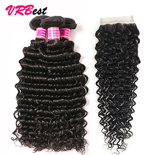 VRBest Brazilian Deep Wave With Closure 100% Unprocessed Virgin Brazilian Hair 3 Bundles Deep Curly Human Hair Extensions With Lace Closure (12 12 12 +10) ()