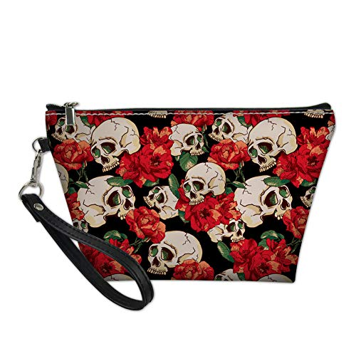 Mumeson Rose Skull Makeup Cosmetics Bags Women Girls Daily Travel Toiletry Pouch with Zippered Wristlets ()