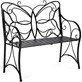 Best Choice Products 40in 2-Person Decorative Metal Iron Patio Garden Bench Outdoor Furniture for Front Porch, Backyard, Balcony, Deck w/Elegant Butterfly Design, Curved Armrests - Black