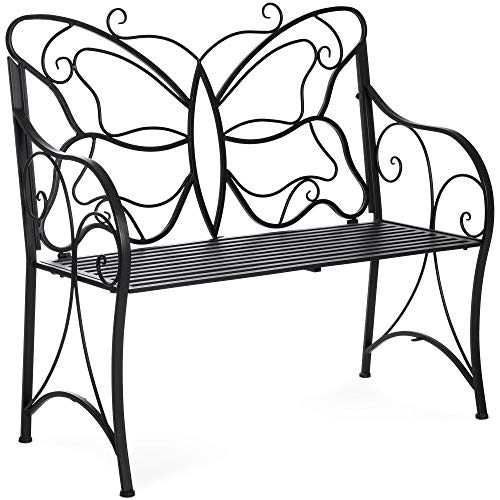 Best Choice Products 40-inch 2-Person Decorative Metal Iron Patio Garden Bench Outdoor Furniture for Front Porch, Backyard, Balcony, Deck with Elegant Butterfly Design, Curved Armrests, Black