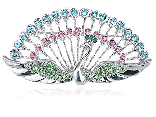 Alilang Dancing Cute Peacock Feather Bird Pin Brooch Crystal Rhinestone Jewelry