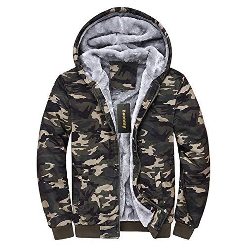 Baonmy Men's Casual Winter Fleece Lined Hoodies Jackets Zip Pullover Warm Thick Coats (Camo, S)