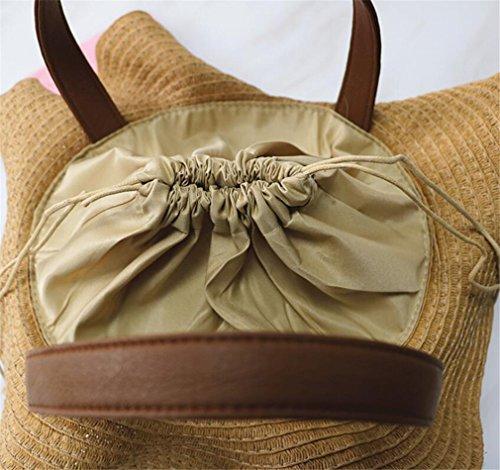 Beige Bolsa De Brown Bolsa Hombro De Bolsa Z Playa Paja Bolsa De ELEGENCE Sombrero De De Paja En Forma Paja De xARRwOPf