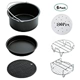 Air Fryer Accessories, Showerstar123 Universal Air Fryer Accessories for Gowise Phillips and Cozyna set of 6, Fit all 3.7QT - 5.3QT - 5.8QT