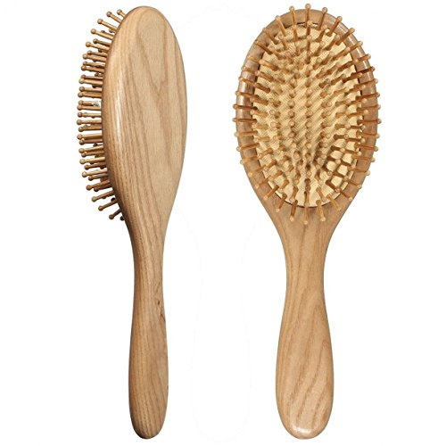 Price comparison product image LOUISE MAELYS Oval Wooden Bristle Hair Brush Detangling Massage Dry Scalp Hairbrush Wood Hair Comb