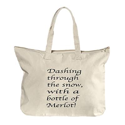 on sale Dashing Through The A Bottle Of Merlot  1 Canvas Beach Zipper Tote  Bag bc3e8fc25390c