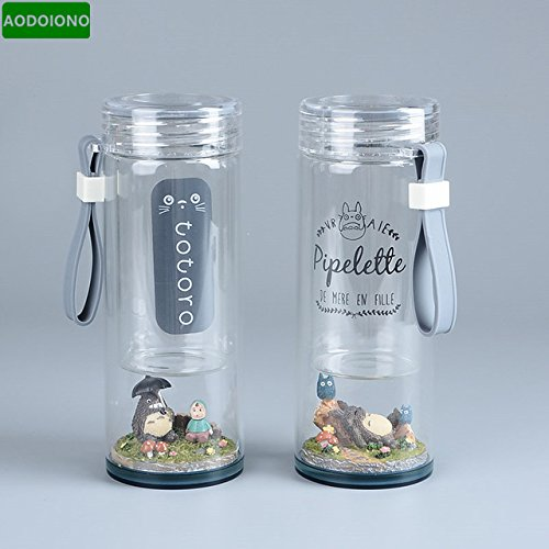 Toy, Play, Fun, Studio Ghibli Anime TOTORO Mei Micro Landscape Figure Portable Glass Water Bottle 220ML Creative Doreamon 260ML Water Cup, Children, Kids, Game (220 Bottle Ml)