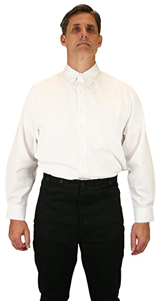 1920s Men's Dress Shirts, Casual Shirts Spearpoint Collar Dress ShirtHistorical Emporium Mens  Victorian $59.95 AT vintagedancer.com