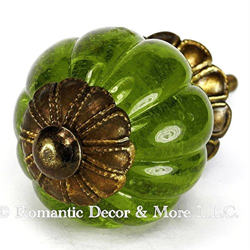Green Peridot Glass Cabinet Knobs, Kitchen Drawer Pulls & Handle Set/6pc ~ K185FF Vintage Style Pumpkin Shaped Glass Knobs with Florentine Hardware, for Dresser, Drawers, Cabinets & Vanity