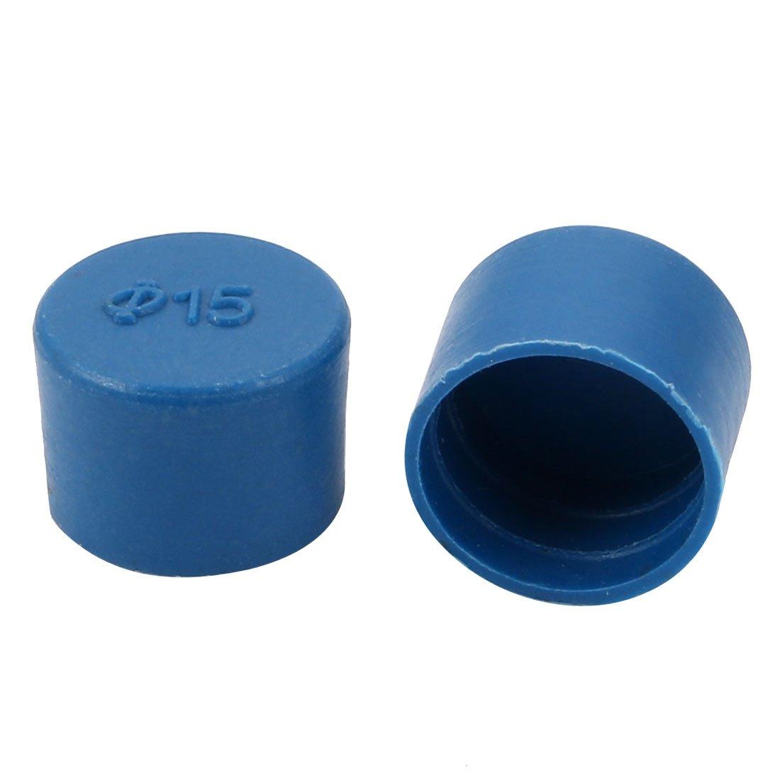 uxcell 2pcs 15mm Inner Dia PE Plastic End Cap Bolt Thread Protector Tube Cover Blue
